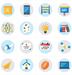 Flat Icons For School Icons and Education Icons vector image vector image