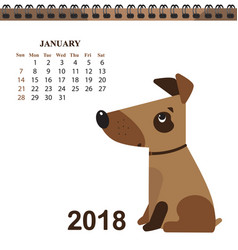 funny dog symbol of the chinese new year calendar vector image