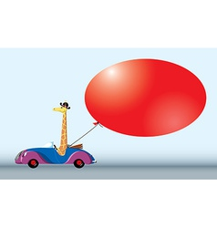 Giraffe on the car with bubble vector image