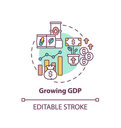 Growing gdp concept icon vector