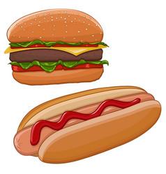 hamburger and hot dog fast food vector image
