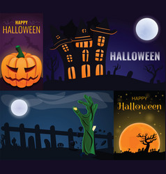 happy halloween banner set cartoon style vector image