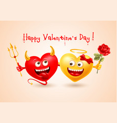happy valentines day with devil and angel hearts vector image