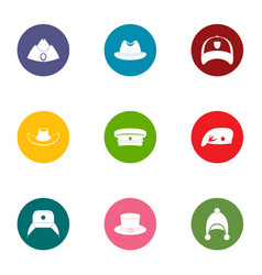 Headpiece icons set flat style vector