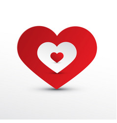heart icons red and white paper cut hearts vector image
