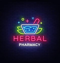 Herbal pharmacy neon sign pharmacy design vector