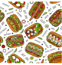 Hot dog and lettering seamless endless pattern vector
