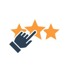Human chooses a three stars rating colored icon vector