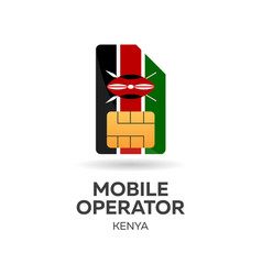 Kenya mobile operator sim card with flag vector