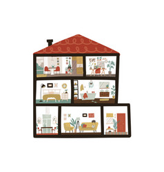 large detailed modern house interior dollhouse vector image