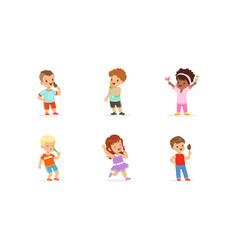 little kids enjoying eating ice-cream set vector image