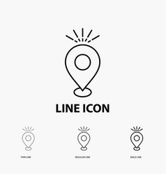 Location pin camping holiday map icon in thin vector