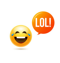 lol emoji icon smile face emoticon joke happy vector image