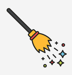 Magic flying broom with sparkles linear vector