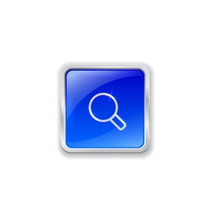 magnifier icon on blue button vector image