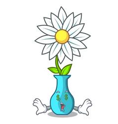 Money eye mascot beautiful flower in vase cartoon vector