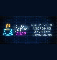 Neon coffee shop signboard with alphabet on a vector