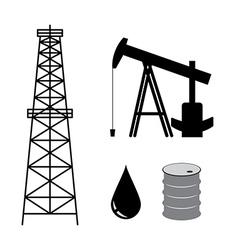 Oil derrick with pump and barrel - set vector