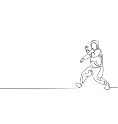 one single line drawing young modern street vector image