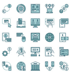 online banking colored concept icons set vector image
