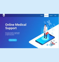online medical support 3d template vector image