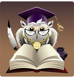 Owl in bachelor hat vector