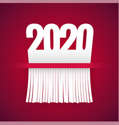 Paper 2020 is cut into shredder on red vector