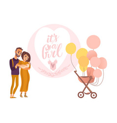 Parents holding newborn baby pram with balloons vector