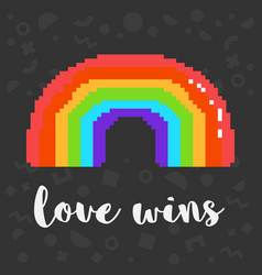 pixel love wins rainbow vector image