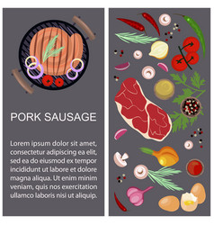 Pork sausage with ingredients vector