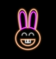 Rabbit neon sign bright glowing symbol on a black vector