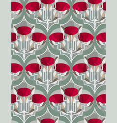 red poppies seamless pattern floral design vector image