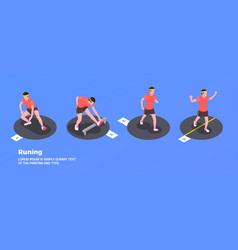 running and training people set vector image