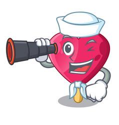 sailor with binocular heart shaped ice cream the vector image