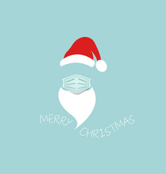 santa claus head label with surgical mask isolated vector image
