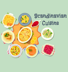 scandinavian cuisine tasty dinner icon design vector image vector image