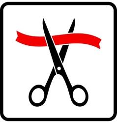 Scissors cutting red ribbon vector
