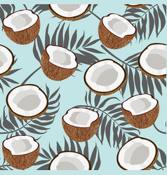 Seamless pattern coconut piece and palm leaves on vector