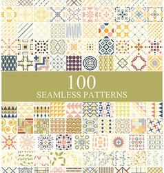 set 100 seamless retro vector image