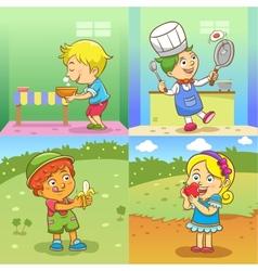set child activities cartoon vector image