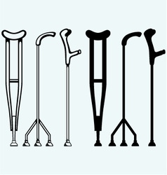 Set crutches vector