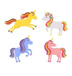 set cute unicorns vector image