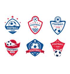 set soccer or football club logos football vector image