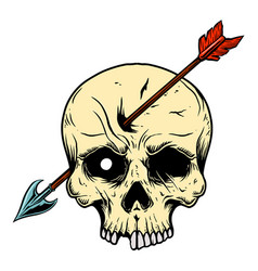 skull with arrow in head design element for logo vector image