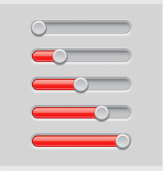 slider bars gray red volume level console vector image
