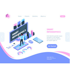 Smart site infographic isometric concept vector