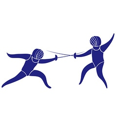 Sport icon with people doing fencing vector image