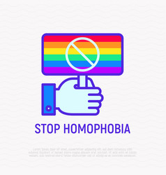 stop homophobia line icon rainbow flag in hand vector image