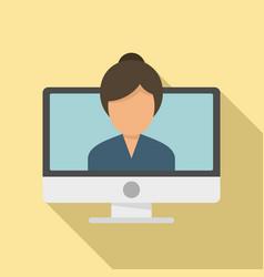 Study language online icon flat style vector