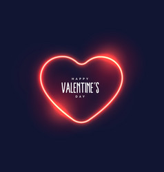 stylish neon light heart for valentines day vector image